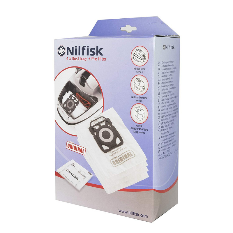 4 sacs aspirateur NILFISK - Type Elite/Extreme/King - 107412688